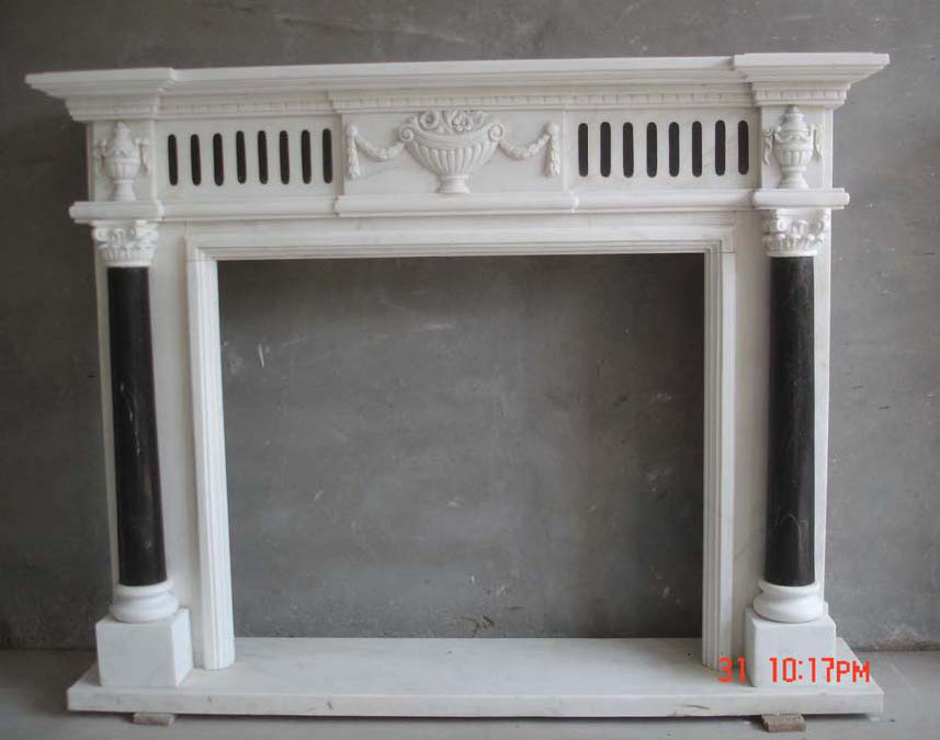 Marble fireplace carving
