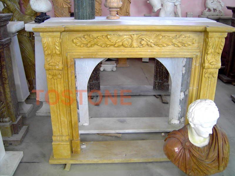 Golden Marble Fireplace mantel