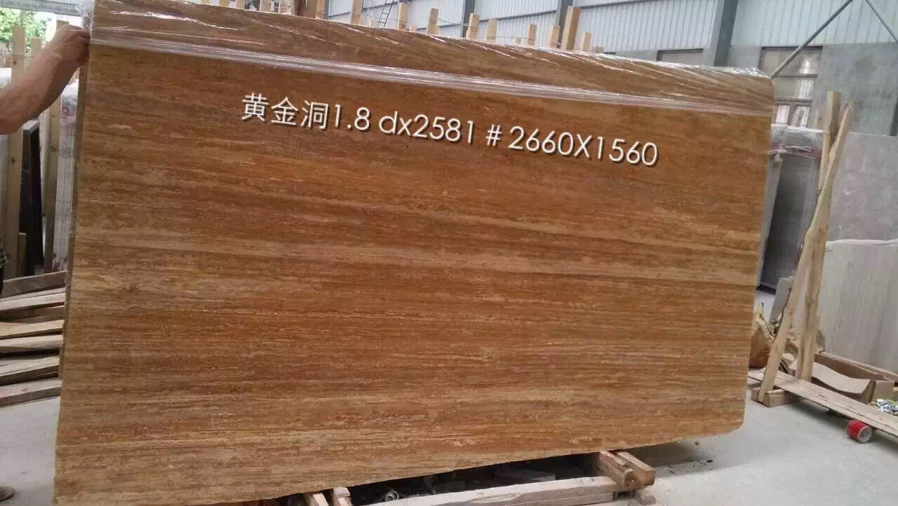 Golden Red Travertine Marble Slabs