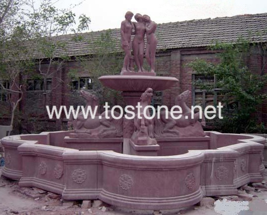 Red Marble Carving Foutnain-NS002