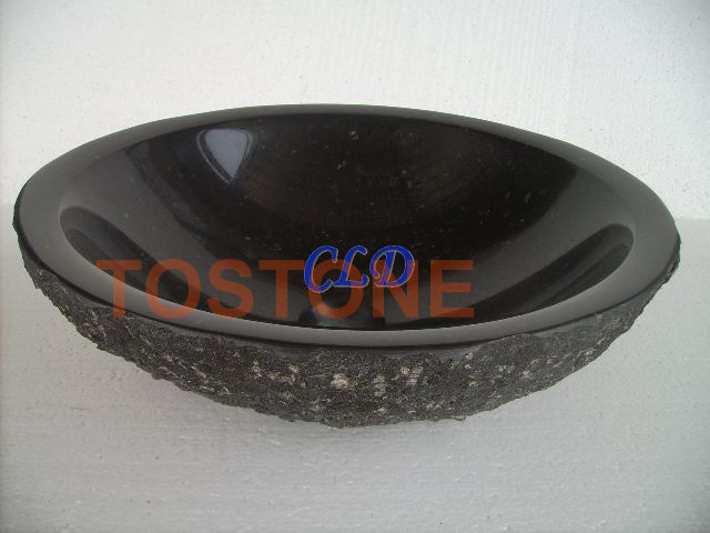 YF054BChiselled-Black Granite Sink
