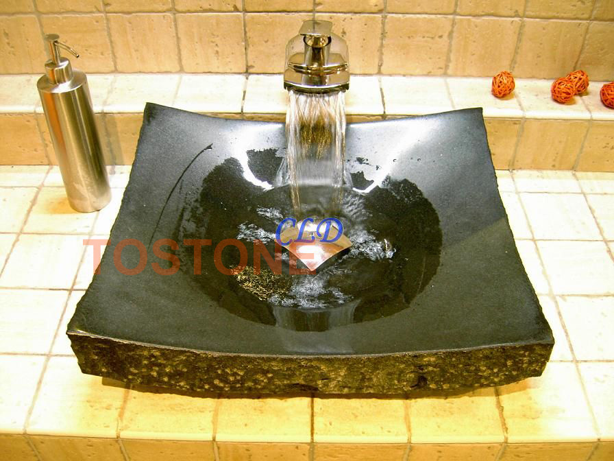 YF055Chiselled-Black Granite Basin