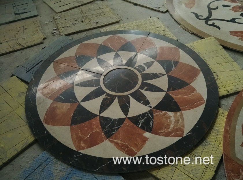 water jet medallions marble